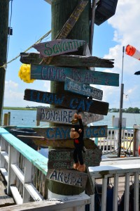 Our Mascot, Maurice the Moroccan Monkey, hanging out at AJ's Dockside Restaurant in Tybee Island, GA.
